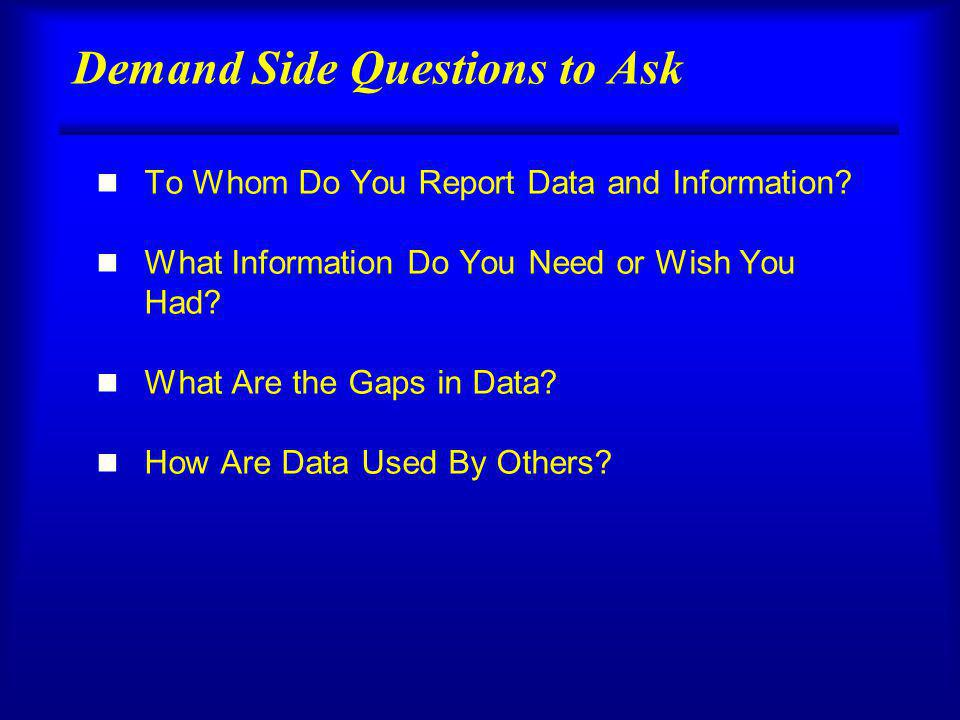 Demand Side Questions to Ask n To Whom Do You Report Data and Information.