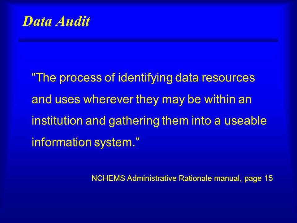 Data Audit The process of identifying data resources and uses wherever they may be within an institution and gathering them into a useable information system.
