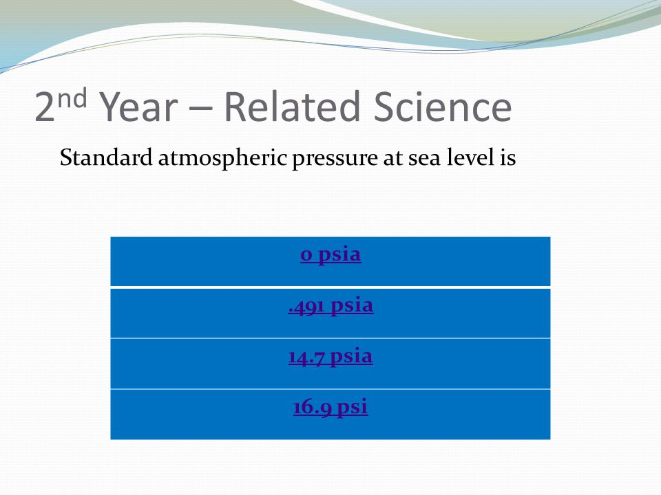 2 nd Year – Related Science Standard atmospheric pressure at sea level is 0 psia.491 psia 14.7 psia 16.9 psi