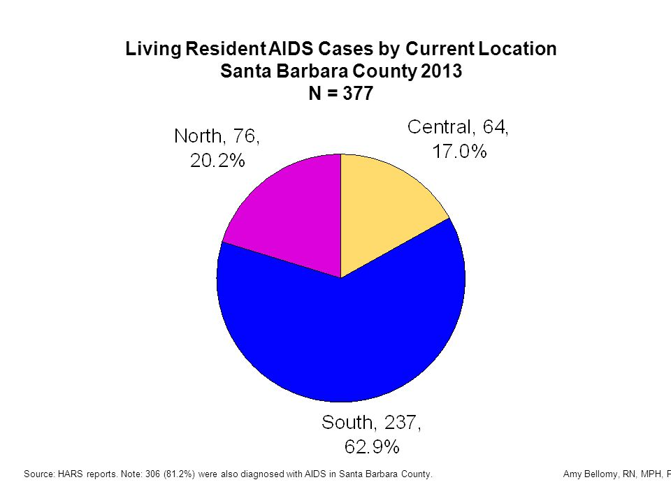 Living Resident AIDS Cases by Current Location Santa Barbara County 2013 N = 377 Source: HARS reports.