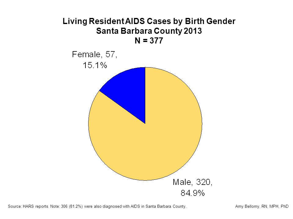 Living Resident AIDS Cases by Birth Gender Santa Barbara County 2013 N = 377 Source: HARS reports.