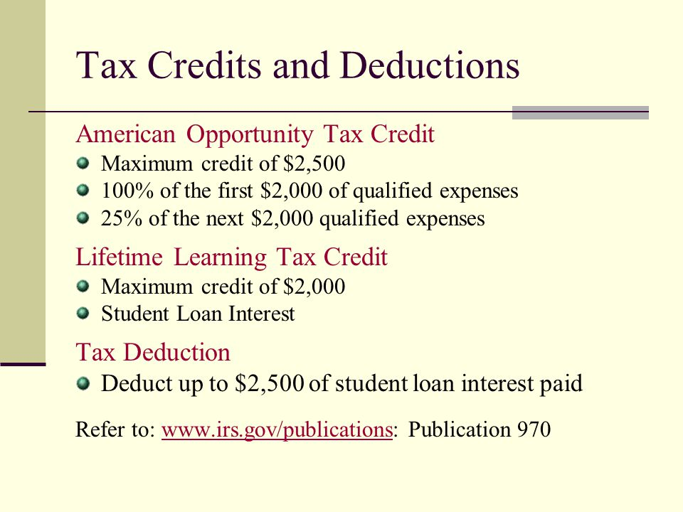 Tax Credits and Deductions American Opportunity Tax Credit Maximum credit of $2,500 100% of the first $2,000 of qualified expenses 25% of the next $2,
