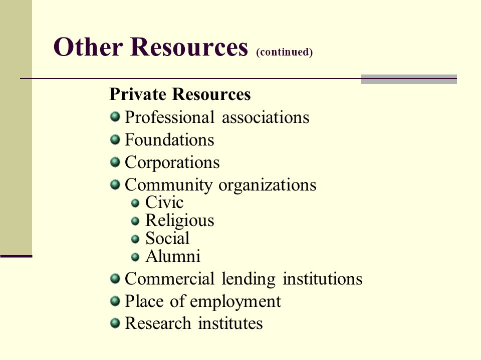 Other Resources (continued) Private Resources Professional associations Foundations Corporations Community organizations Civic Religious Social Alumni