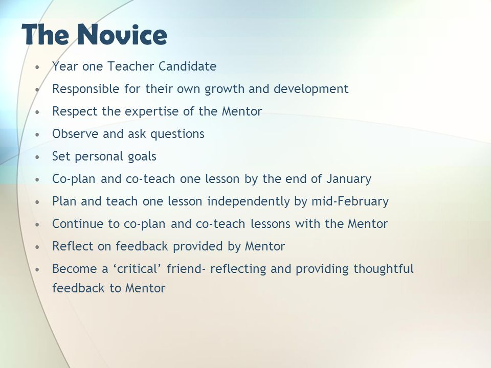 The Novice Year one Teacher Candidate Responsible for their own growth and development Respect the expertise of the Mentor Observe and ask questions S