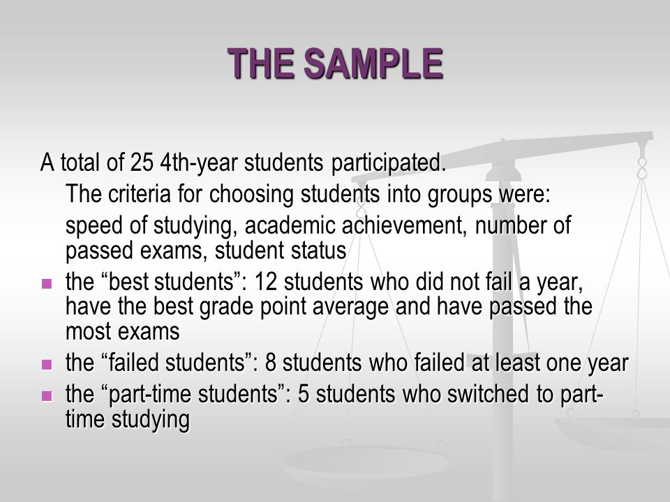 THE SAMPLE A total of 25 4th-year students participated.