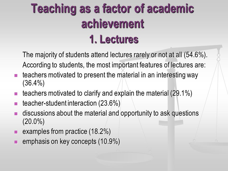 Teaching as a factor of academic achievement 1.