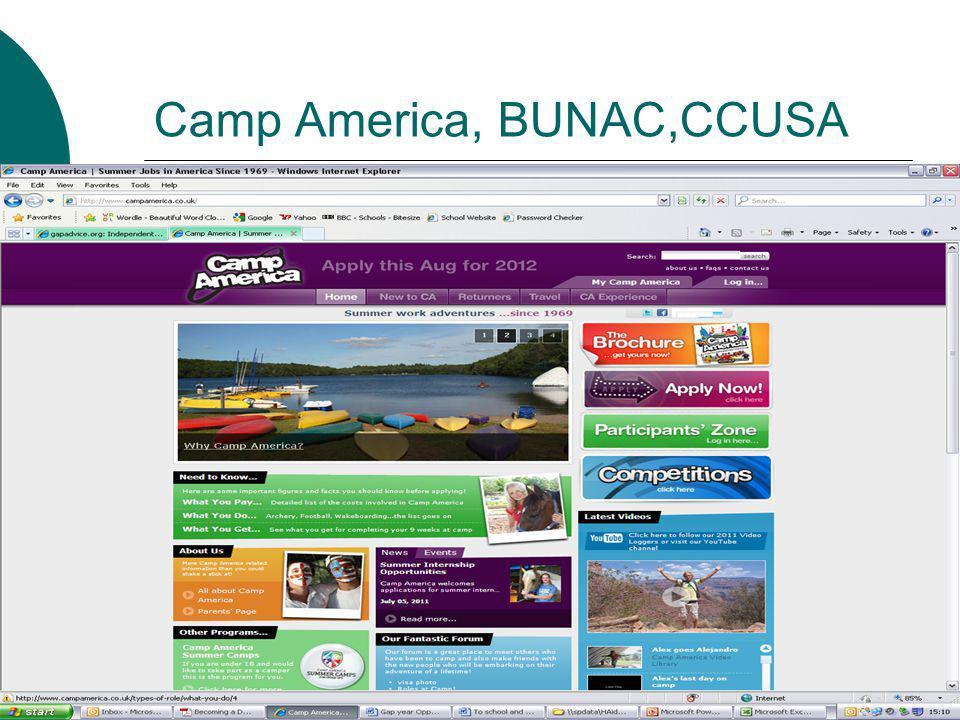 Camp America, BUNAC,CCUSA