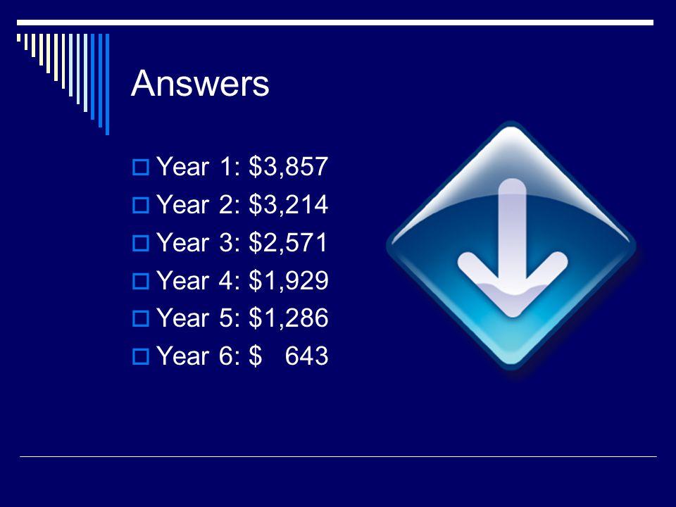 Answers Year 1: $3,857 Year 2: $3,214 Year 3: $2,571 Year 4: $1,929 Year 5: $1,286 Year 6: $ 643