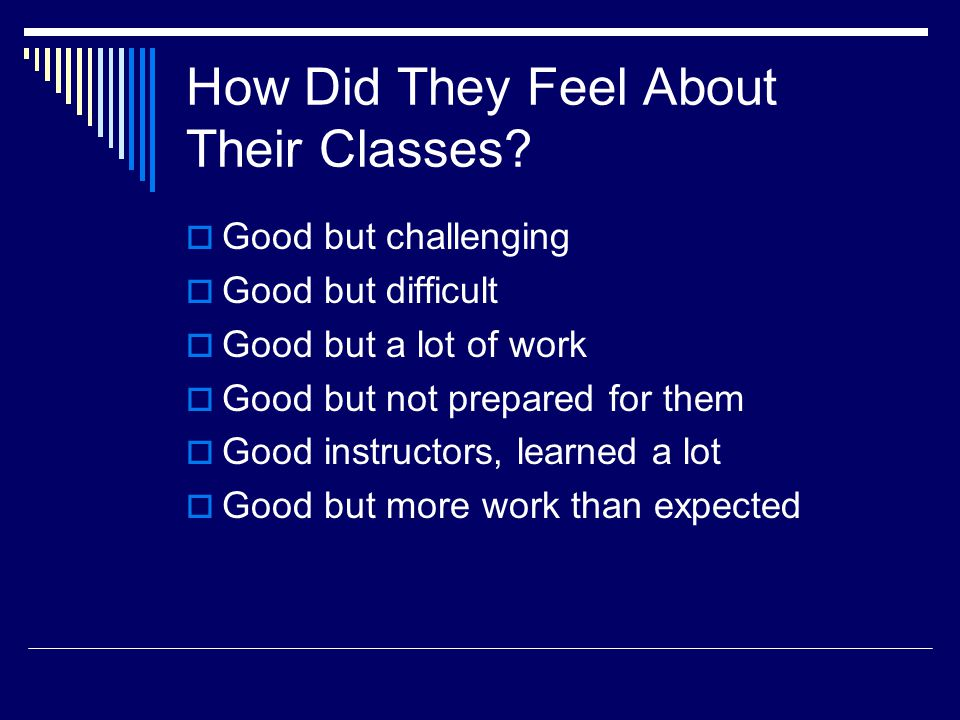 How Did They Feel About Their Classes? Good but challenging Good but difficult Good but a lot of work Good but not prepared for them Good instructors,