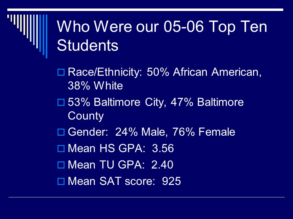 Predicted Success for Fall 06 By Race/Ethnicity African American Top Ten Candidates White Top Ten Candidates HS GPA3.563.84 SAT Total8961178 TU CUM*2.102.60 *using SAT, HS GPA and school district as predictors.