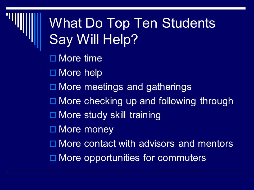 What Do Top Ten Students Say Will Help? More time More help More meetings and gatherings More checking up and following through More study skill train