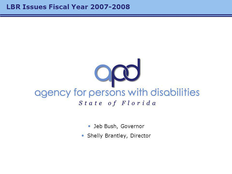 LBR Issues Fiscal Year 2007-2008 Jeb Bush, Governor Shelly Brantley, Director