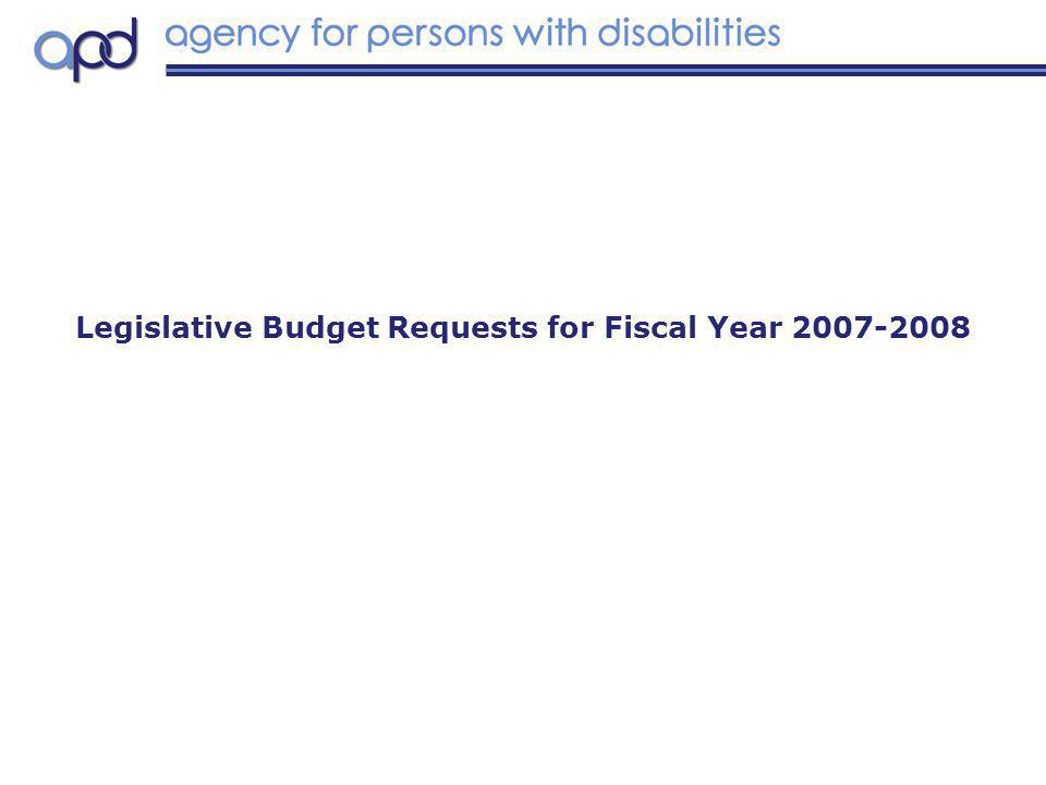 Legislative Budget Requests for Fiscal Year 2007-2008