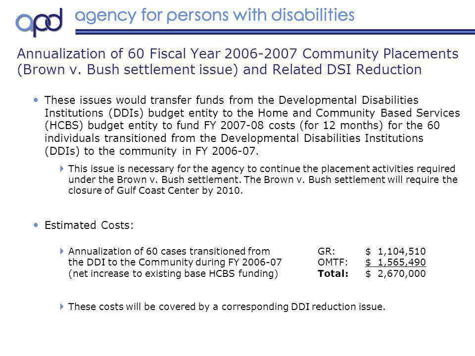 These issues would transfer funds from the Developmental Disabilities Institutions (DDIs) budget entity to the Home and Community Based Services (HCBS) budget entity to fund FY 2007-08 costs (for 12 months) for the 60 individuals transitioned from the Developmental Disabilities Institutions (DDIs) to the community in FY 2006-07.