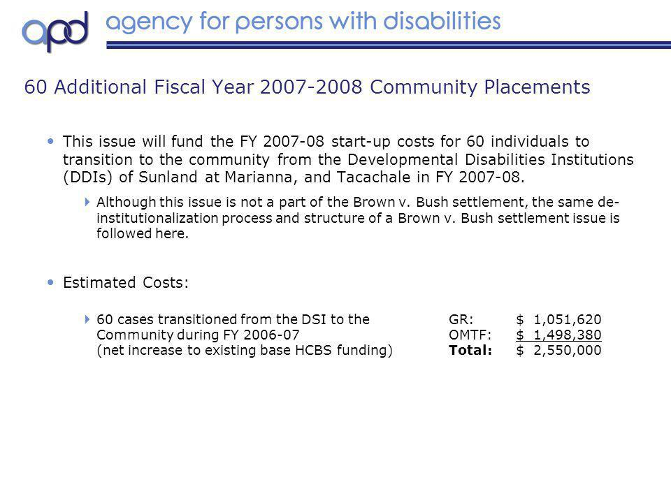 This issue will fund the FY 2007-08 start-up costs for 60 individuals to transition to the community from the Developmental Disabilities Institutions (DDIs) of Sunland at Marianna, and Tacachale in FY 2007-08.