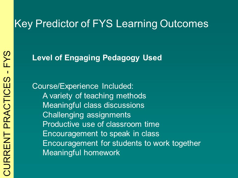 Level of Engaging Pedagogy Used Course/Experience Included: A variety of teaching methods Meaningful class discussions Challenging assignments Productive use of classroom time Encouragement to speak in class Encouragement for students to work together Meaningful homework Key Predictor of FYS Learning Outcomes CURRENT PRACTICES - FYS