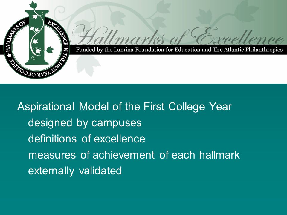 Aspirational Model of the First College Year designed by campuses definitions of excellence measures of achievement of each hallmark externally validated