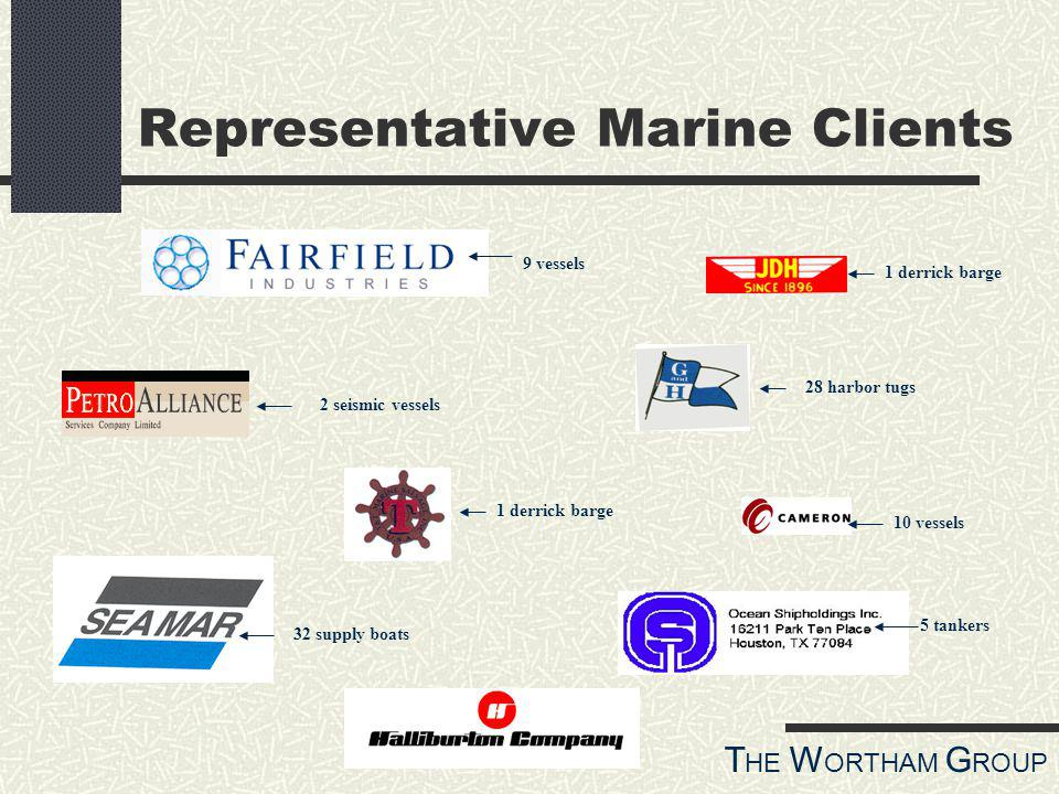T HE W ORTHAM G ROUP Representative Marine Clients 32 supply boats 5 tankers 28 harbor tugs 1 derrick barge 9 vessels 10 vessels 2 seismic vessels 1 derrick barge