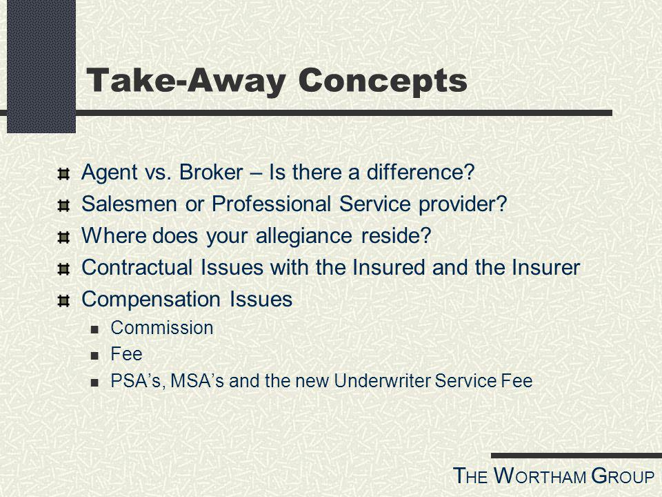 T HE W ORTHAM G ROUP Take-Away Concepts Agent vs. Broker – Is there a difference.