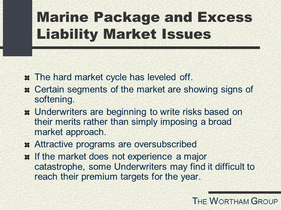 T HE W ORTHAM G ROUP Marine Package and Excess Liability Market Issues The hard market cycle has leveled off.