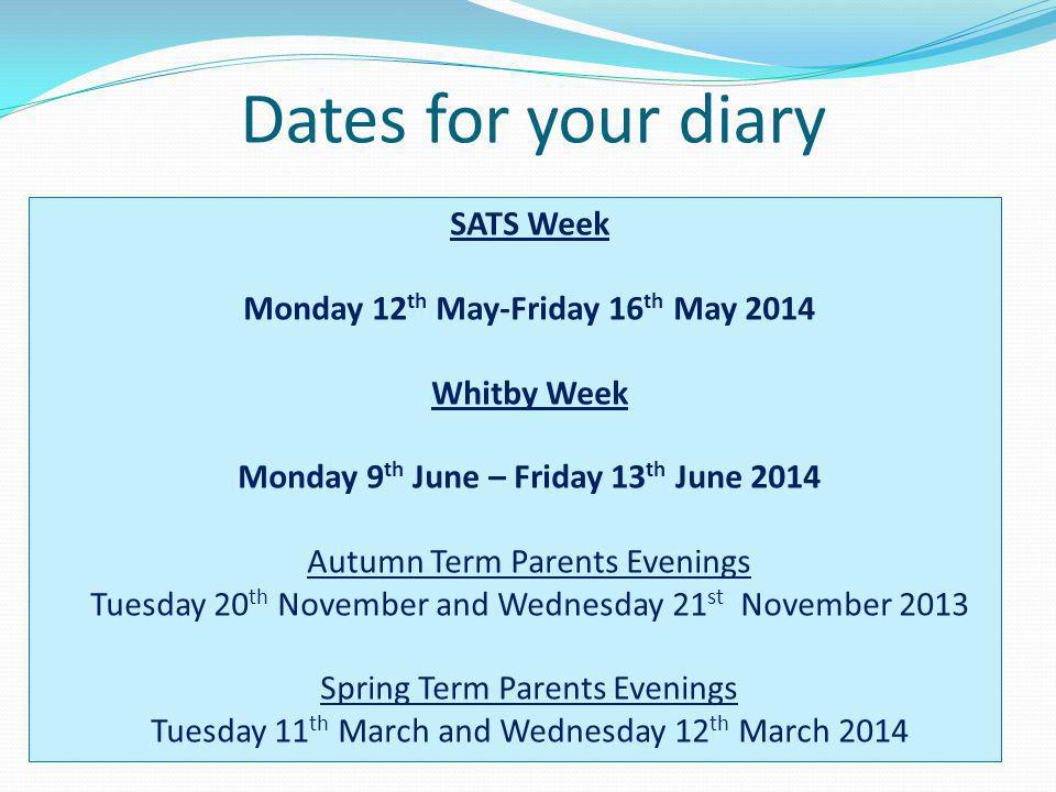 Dates for your diary SATS Week Monday 12 th May-Friday 16 th May 2014 Whitby Week Monday 9 th June – Friday 13 th June 2014 Autumn Term Parents Evenin