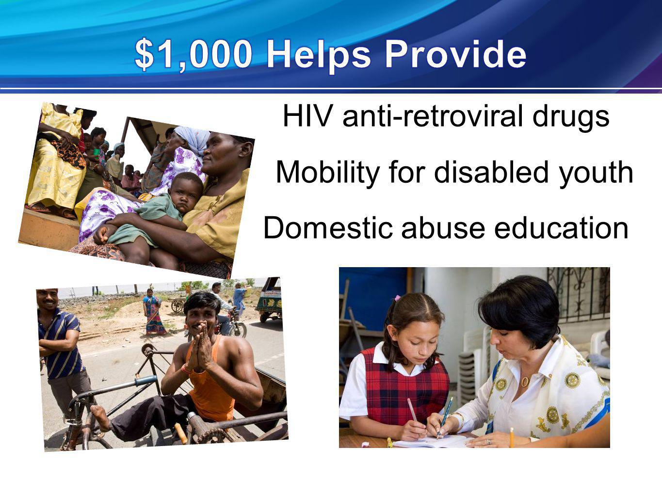 HIV anti-retroviral drugs Mobility for disabled youth Domestic abuse education
