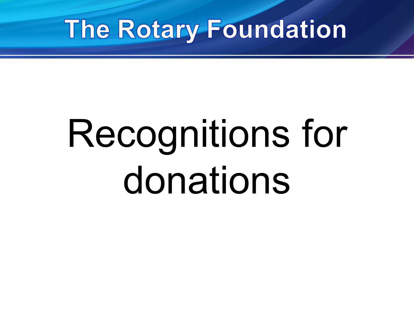 Recognitions for donations