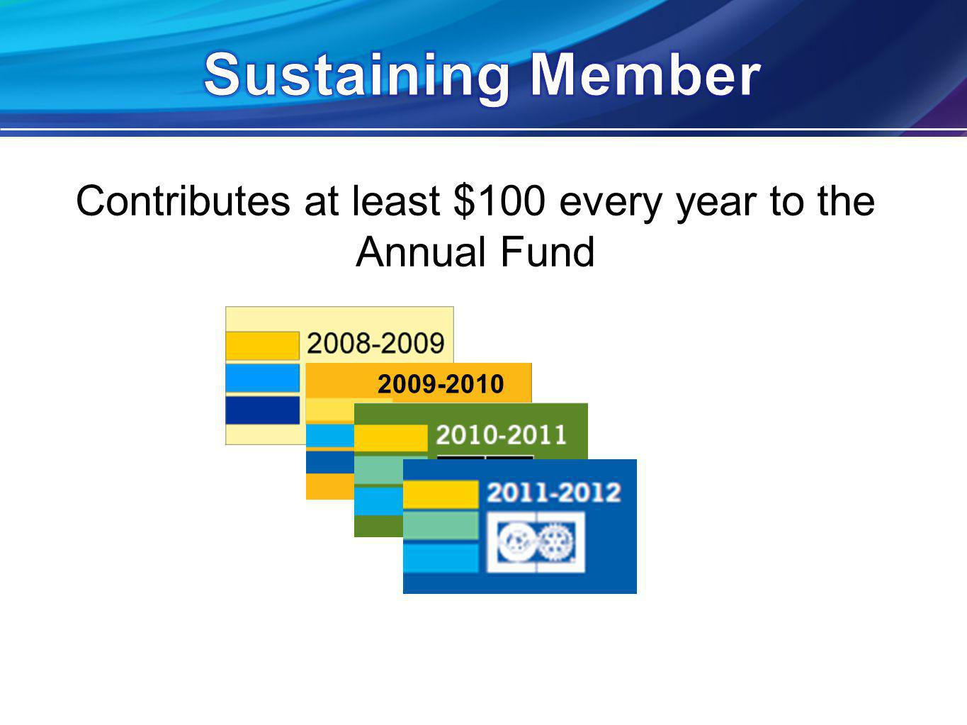 Contributes at least $100 every year to the Annual Fund 2009-2010