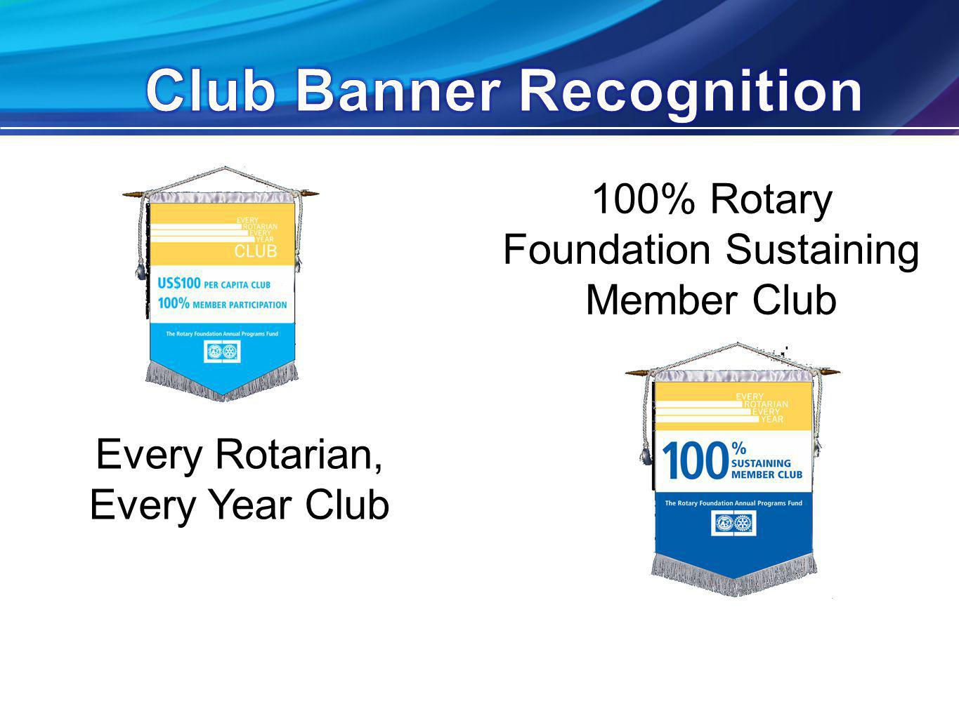 100% Rotary Foundation Sustaining Member Club Every Rotarian, Every Year Club