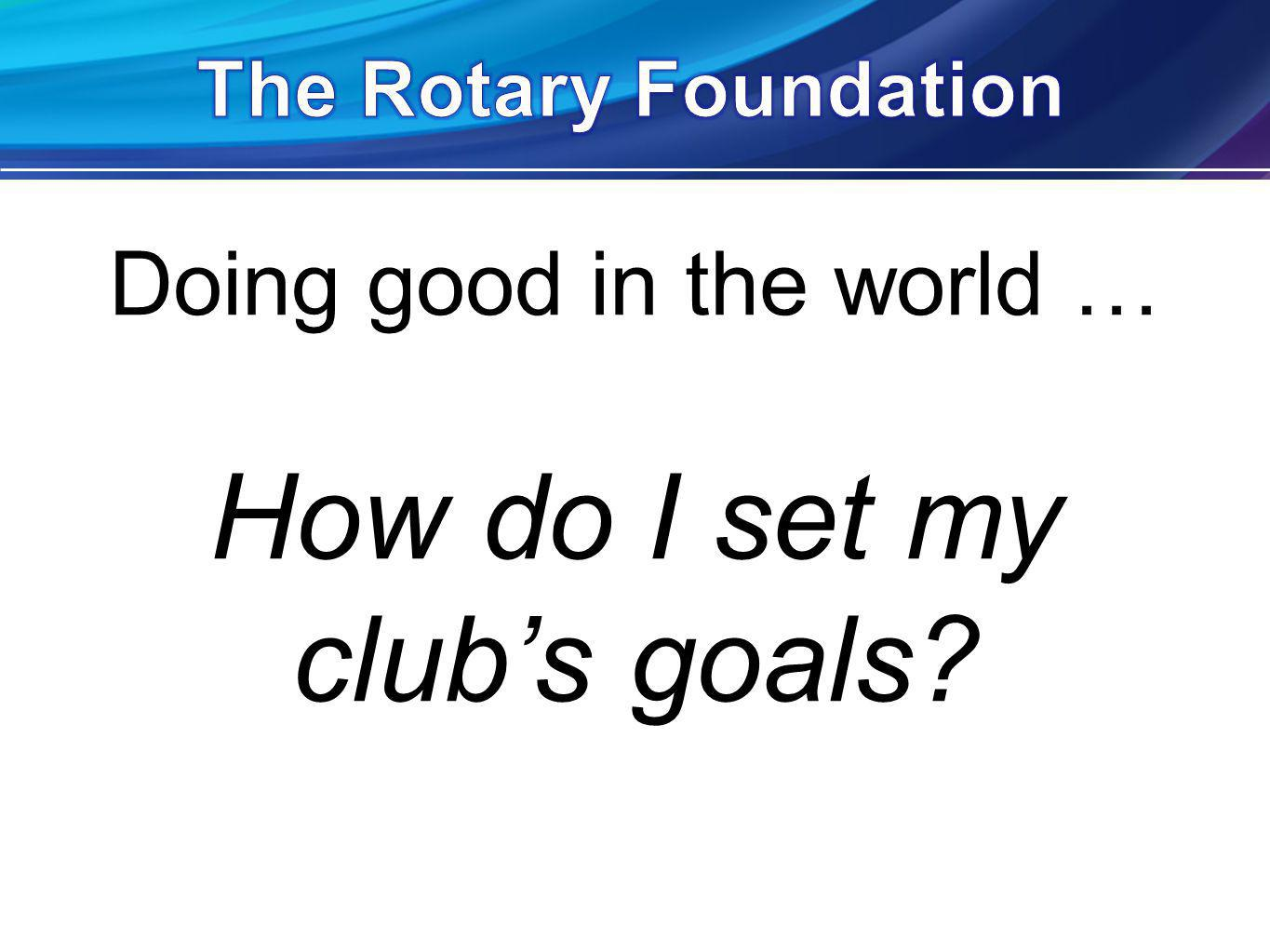 Doing good in the world … How do I set my clubs goals