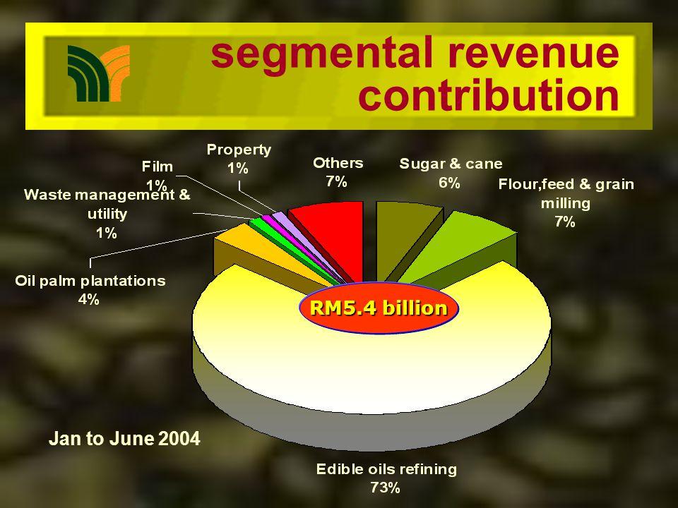 operating profits contribution Jan to June 2004 RM281million