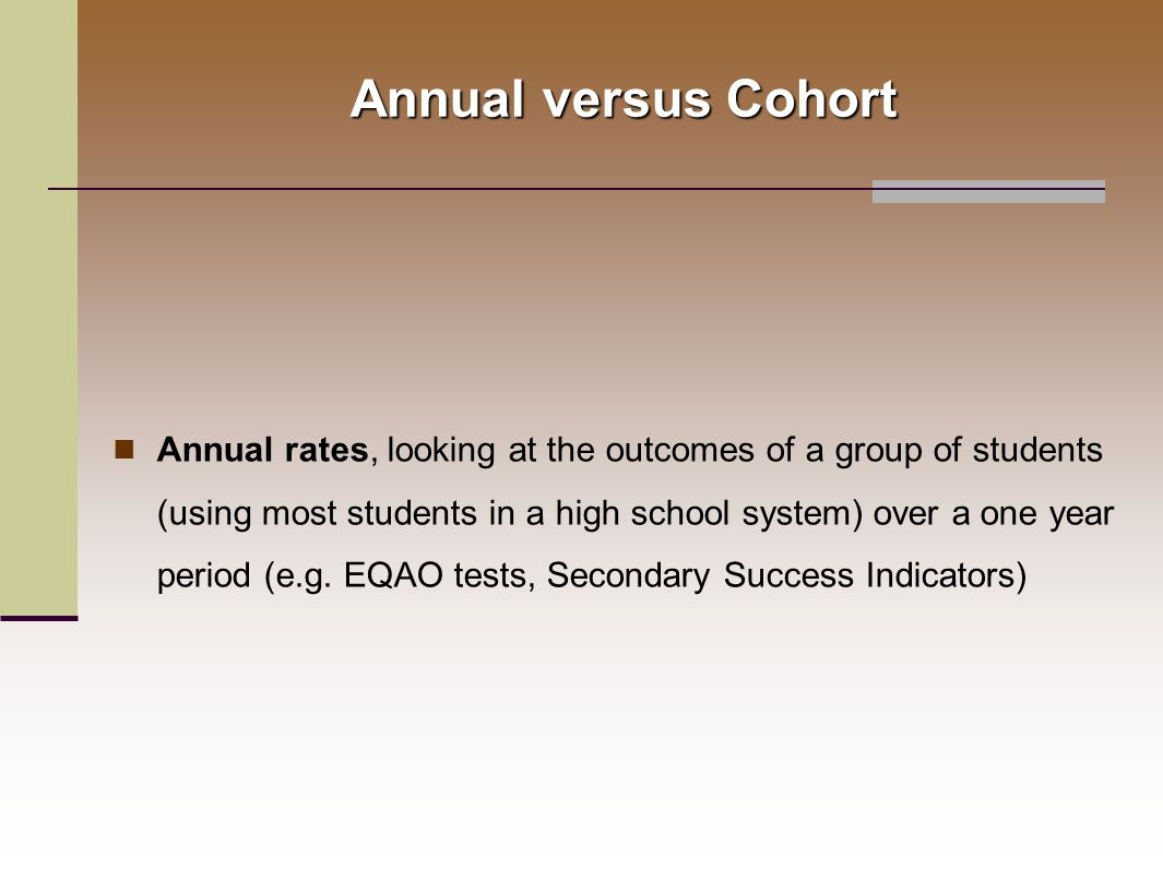 Annual rates, looking at the outcomes of a group of students (using most students in a high school system) over a one year period (e.g.