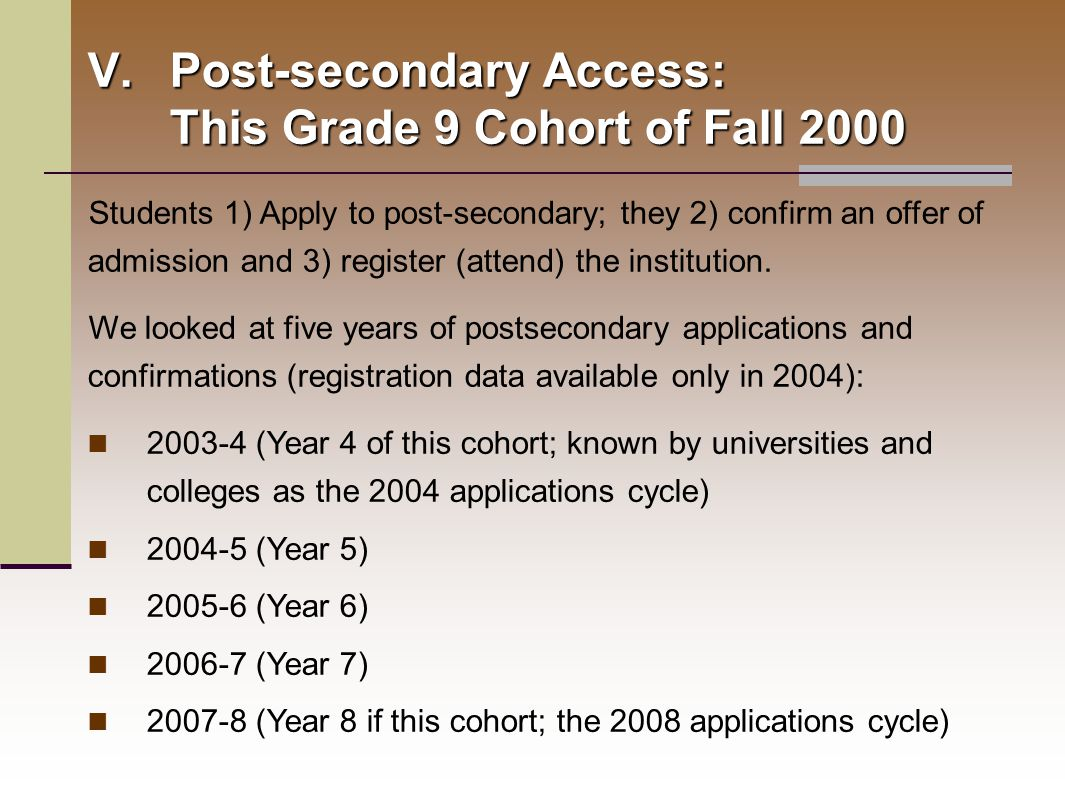 Students 1) Apply to post-secondary; they 2) confirm an offer of admission and 3) register (attend) the institution.