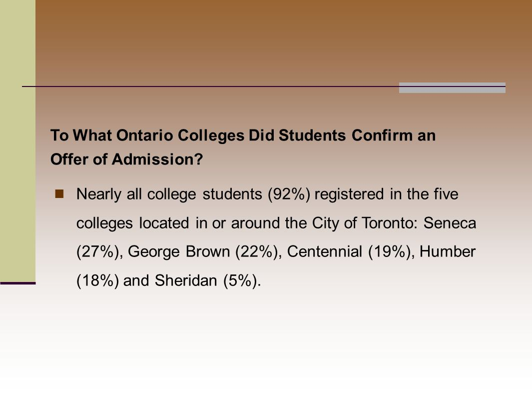 Nearly all college students (92%) registered in the five colleges located in or around the City of Toronto: Seneca (27%), George Brown (22%), Centennial (19%), Humber (18%) and Sheridan (5%).
