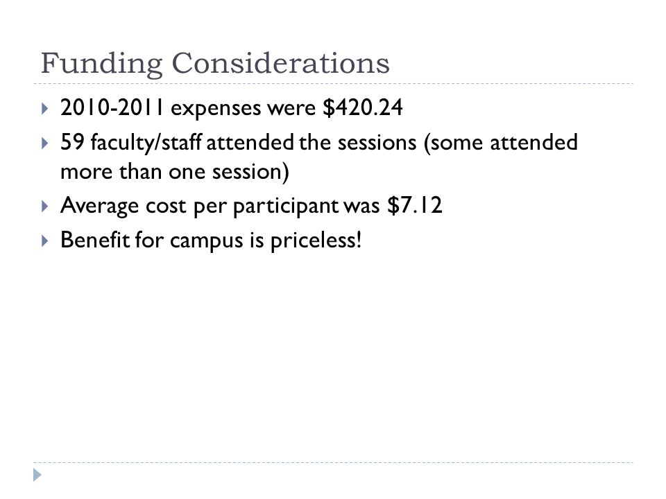 Funding Considerations 2010-2011 expenses were $420.24 59 faculty/staff attended the sessions (some attended more than one session) Average cost per participant was $7.12 Benefit for campus is priceless!
