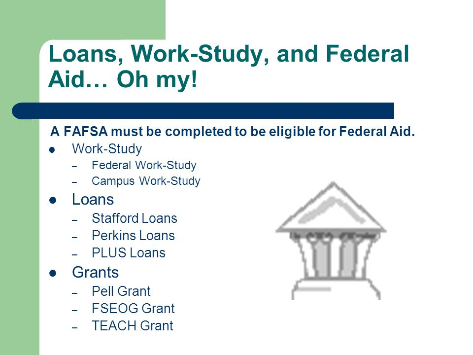 Loans, Work-Study, and Federal Aid… Oh my.