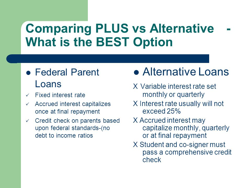 Comparing PLUS vs Alternative- What is the BEST Option Federal Parent Loans Fixed interest rate Accrued interest capitalizes once at final repayment Credit check on parents based upon federal standards-(no debt to income ratios Alternative Loans X Variable interest rate set monthly or quarterly X Interest rate usually will not exceed 25% X Accrued interest may capitalize monthly, quarterly or at final repayment X Student and co-signer must pass a comprehensive credit check