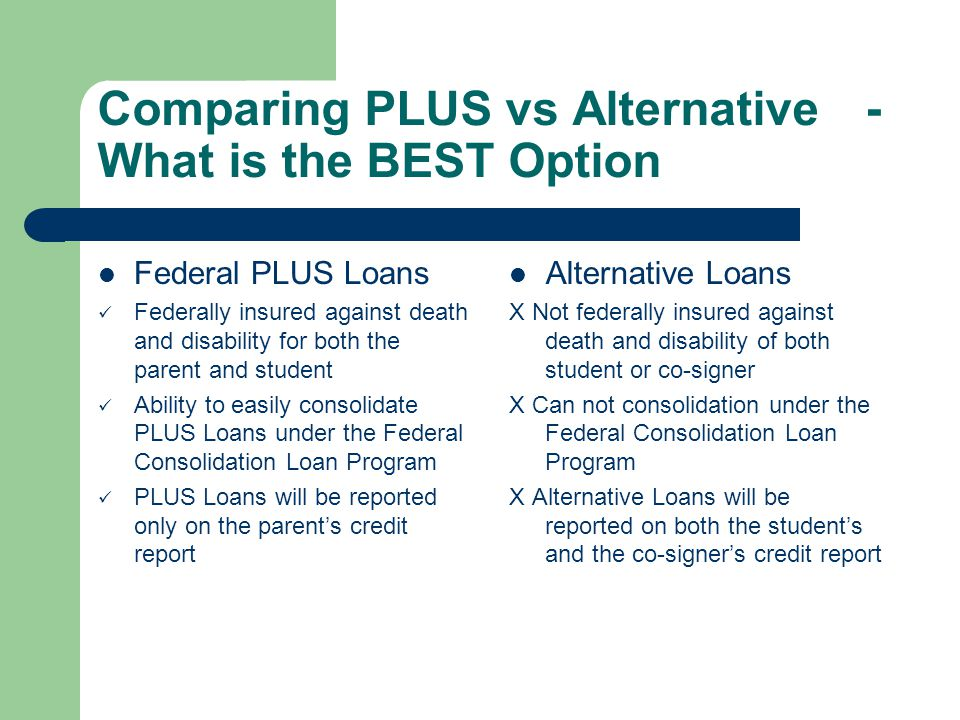 Comparing PLUS vs Alternative- What is the BEST Option Federal PLUS Loans Federally insured against death and disability for both the parent and student Ability to easily consolidate PLUS Loans under the Federal Consolidation Loan Program PLUS Loans will be reported only on the parents credit report Alternative Loans X Not federally insured against death and disability of both student or co-signer X Can not consolidation under the Federal Consolidation Loan Program X Alternative Loans will be reported on both the students and the co-signers credit report