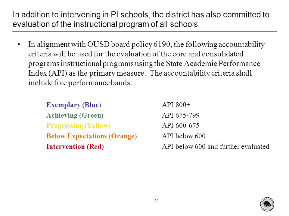 - 14 - In addition to intervening in PI schools, the district has also committed to evaluation of the instructional program of all schools In alignment with OUSD board policy 6190, the following accountability criteria will be used for the evaluation of the core and consolidated programs instructional programs using the State Academic Performance Index (API) as the primary measure.
