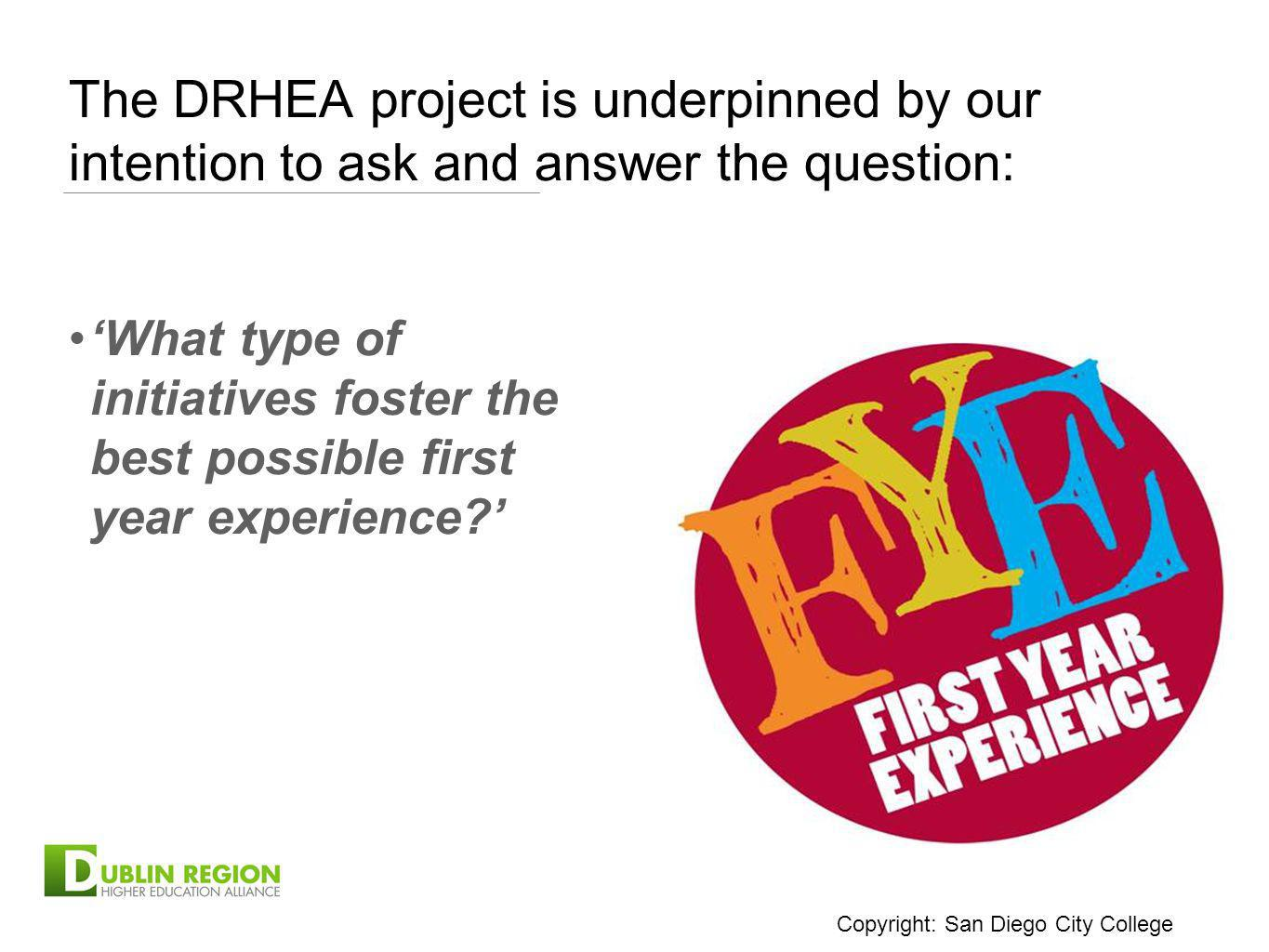 The DRHEA project is underpinned by our intention to ask and answer the question: What type of initiatives foster the best possible first year experie