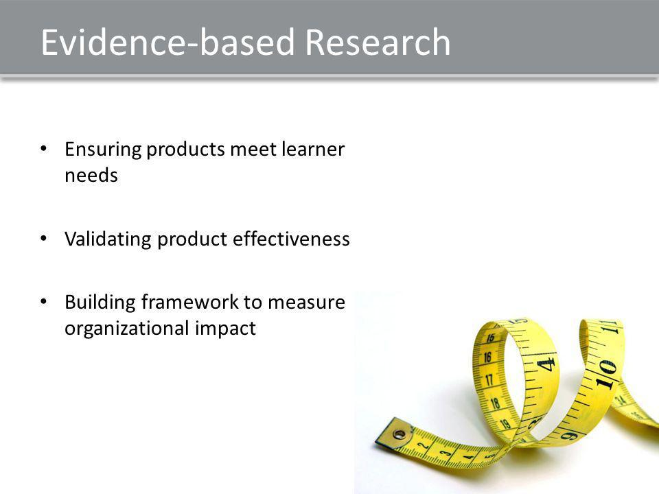 Evidence-based Research Ensuring products meet learner needs Validating product effectiveness Building framework to measure organizational impact