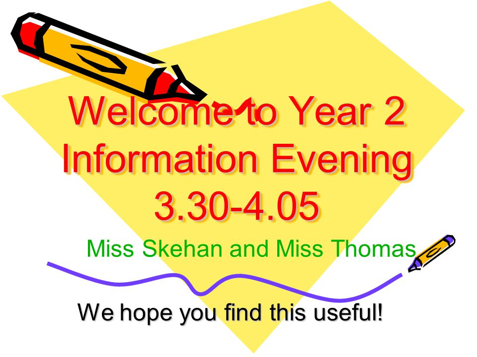 Welcome to Year 2 Information Evening 3.30-4.05 We hope you find this useful.