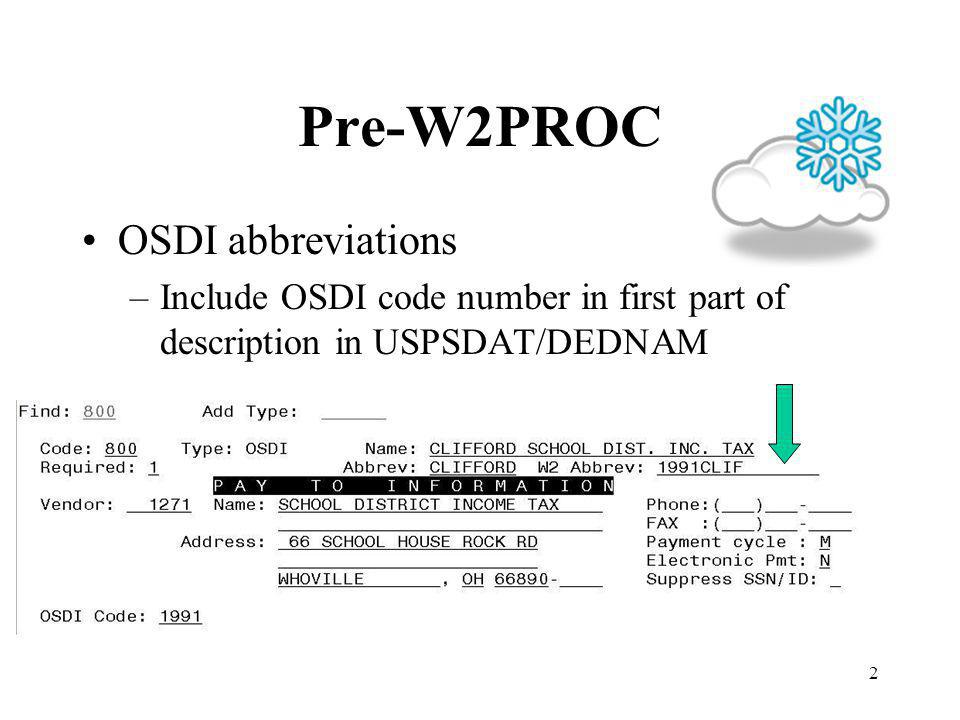 2 Pre-W2PROC OSDI abbreviations –Include OSDI code number in first part of description in USPSDAT/DEDNAM