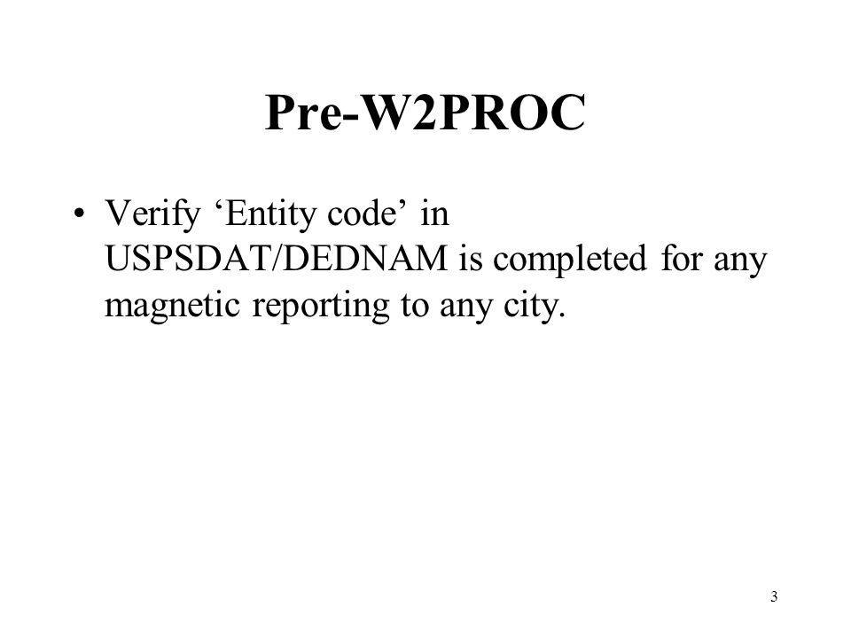 3 Pre-W2PROC Verify Entity code in USPSDAT/DEDNAM is completed for any magnetic reporting to any city.