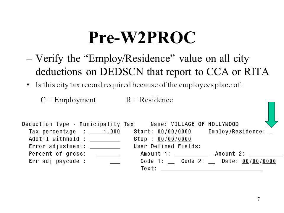 38 W2PROC Run the program W2PROC –We will be sending tape files to: Social Security Administration Office Ohio State Department of Taxation Findlay City Tax Department CCA (for those districts requesting it) Rita (for those districts requesting it)