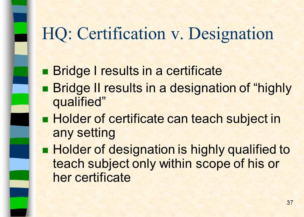 37 HQ: Certification v.
