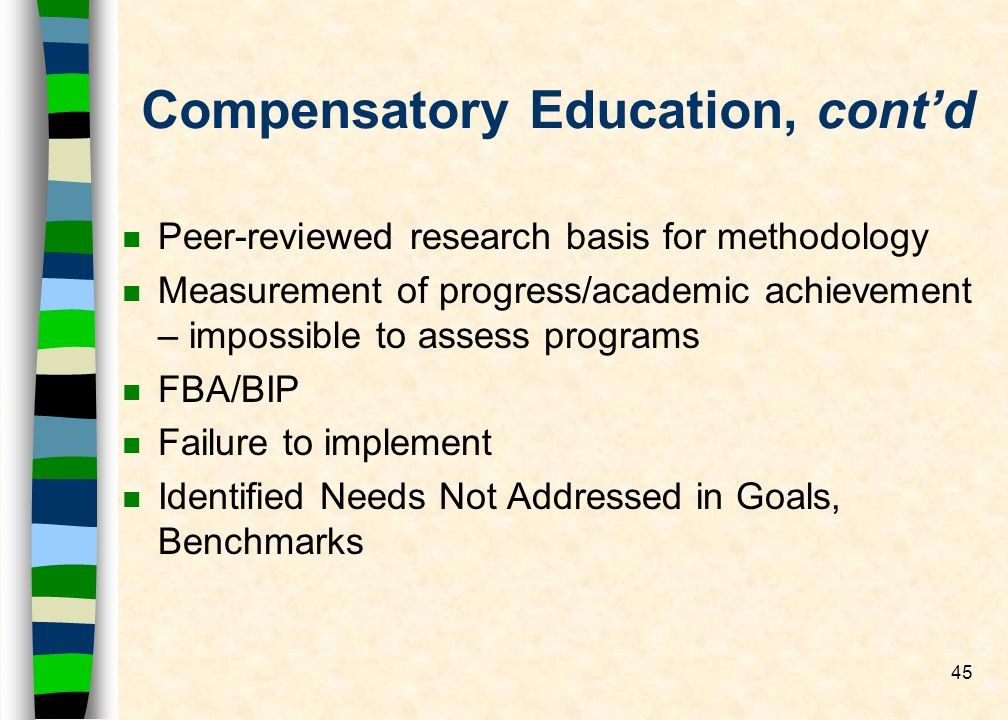 45 Compensatory Education, contd n Peer-reviewed research basis for methodology n Measurement of progress/academic achievement – impossible to assess programs n FBA/BIP n Failure to implement n Identified Needs Not Addressed in Goals, Benchmarks