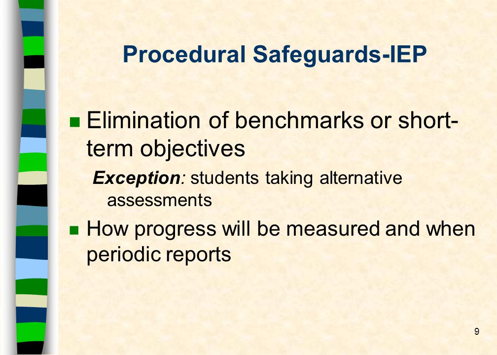 9 Procedural Safeguards-IEP n Elimination of benchmarks or short- term objectives Exception: students taking alternative assessments n How progress wi