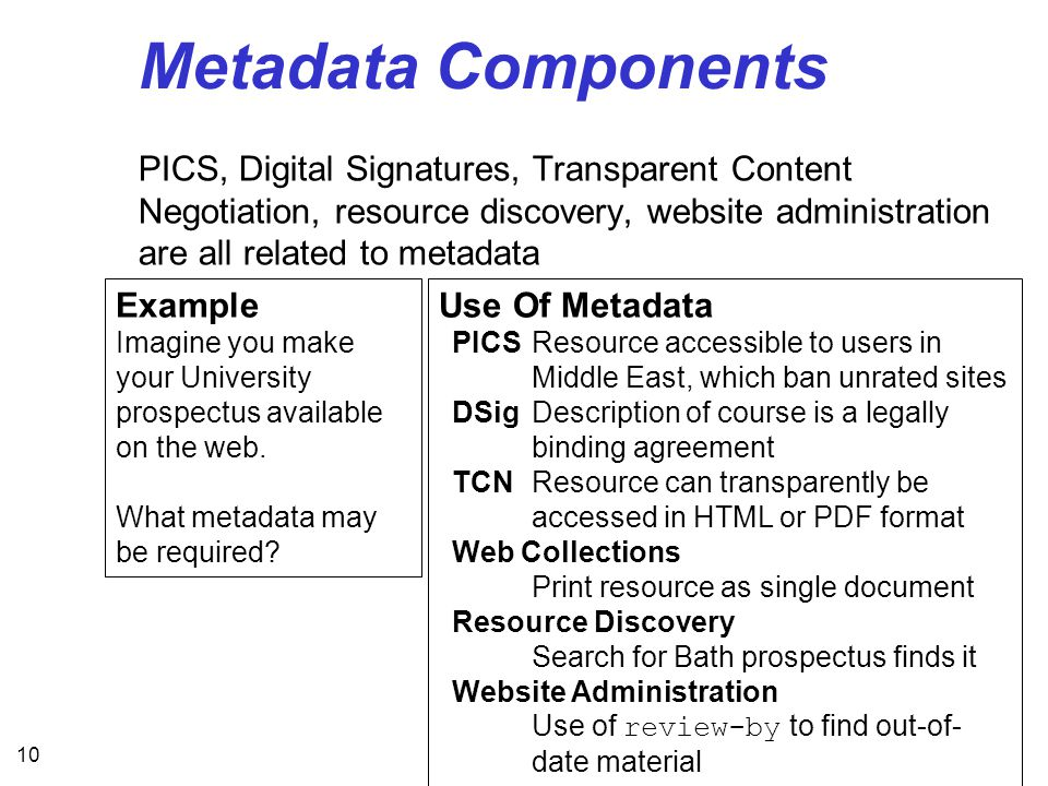 10 Metadata Components PICS, Digital Signatures, Transparent Content Negotiation, resource discovery, website administration are all related to metadata Example Imagine you make your University prospectus available on the web.