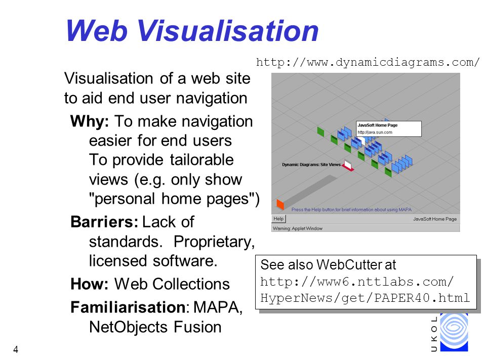 4 Web Visualisation Visualisation of a web site to aid end user navigation Why: To make navigation easier for end users To provide tailorable views (e